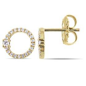 0.17 CT. T.W. Diamond Circle Stud Earrings in 14K Yellow Gold