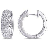 Allura 0.95 CT. T.W. Diamond Hoop Earrings in 14k White Gold