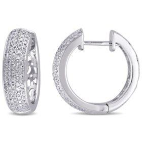 Allura 1 CT. T.W. Diamond Hoop Earrings in 14K White Gold