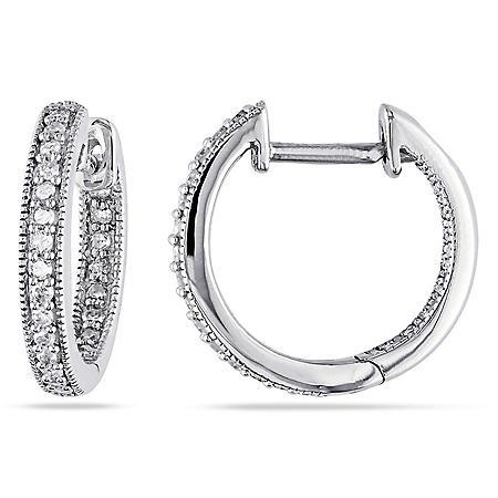 0.22 CT. T.W. Inside Outside Diamond Hoop Earrings in 14k Gold