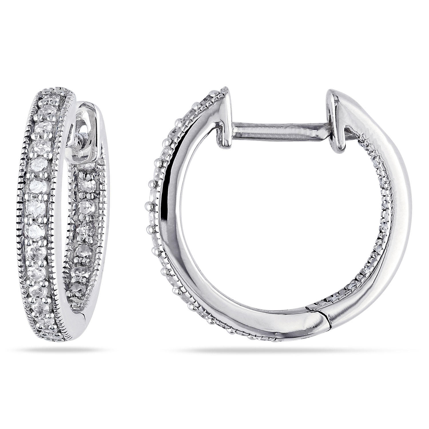 T.W. Inside Outside Diamond Hoop Earrings in 14K Gold (0.23 CT.)