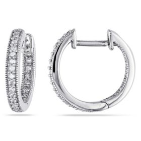 0.22 CT. T.W. Inside Outside Diamond Hoop Earrings in 14k Gold