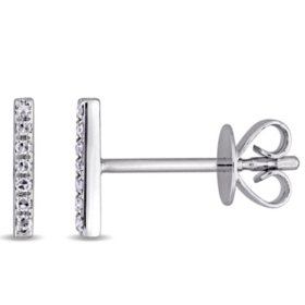 Diamond-Accent Linear Bar Earrings in 14K White Gold