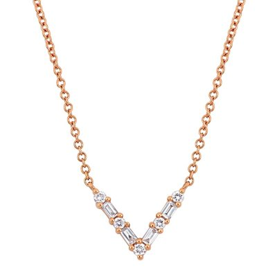 0 16 Ct T W Baguette And Round Cut Diamond V Shape Necklace In 14k Rose Gold Sam S Club