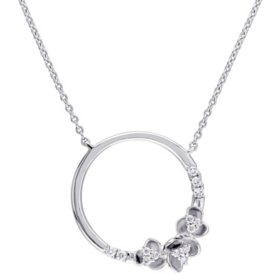 0.16 CT. T.W. Diamond Circle Floral Necklace in 14K White Gold