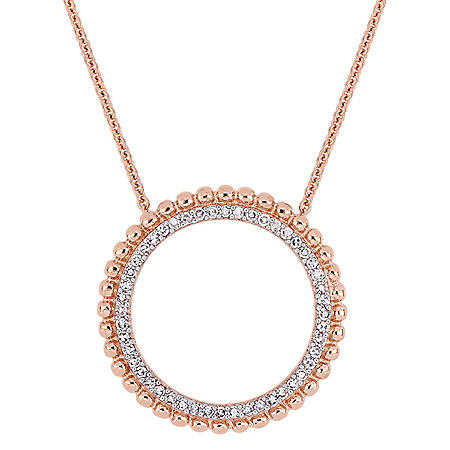 0.24 CT. T.W. Diamond Circle Necklace in 14K Rose Gold