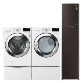 LG 4.5 cu. ft. Front Load Washer & 7.4 cu. ft. Dryer on SideKick Pedestal & Steamer - White