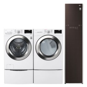 LG 4.5 cu. ft. Front Load Washer & 7.4 cu. ft. Dryer on SideKick Pedestal & Steamer - White