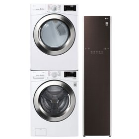 LG Stackable 4.5 cu. ft. Front Load Washer & 7.4 cu. ft. Dryer & Steamer - White
