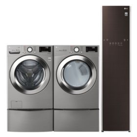 LG 4.5 cu. ft. Front Load Washer & 7.4 cu. ft. Dryer on SideKick Pedestal & Steamer - Graphite Steel