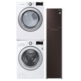 LG Stackable 4.5 cu. ft. Front Load Washer & 7.4 cu. ft. Dryer & Steamer - Graphite Steel