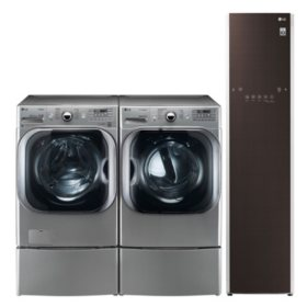 LG 5.2 cu. ft. Front Load Washer & 9.0 cu. ft. Dryer on SideKick Pedestal & Steamer - Graphite Steel