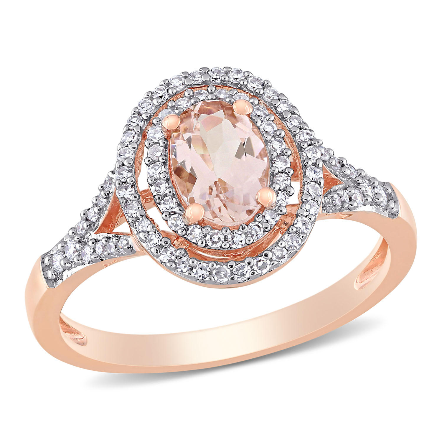 T.W. Morganite 0.25 CT. Diamond Double Halo Engagement Ring in 14K Rose Gold