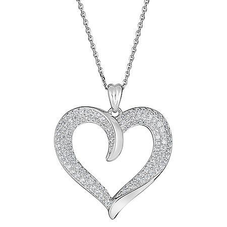 0.99 CT. T.W. Diamond Heart Pendant in 14K White Gold (H-I, I1)