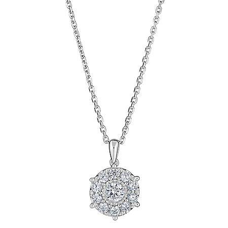 0.47 CT. T.W. Round Diamond Halo Pendant in 14K White Gold (H-I, I1)