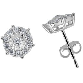 0.50 CT. T.W. Round Diamond Halo Earrings in 14K White Gold (H-I, I1)