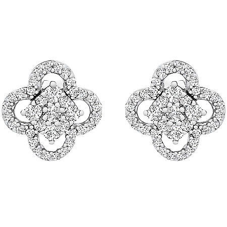0.25 CT. T.W. I-I1 White Gold Diamond Clover Flower Stud Earrings