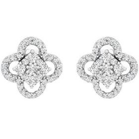 0.25 CT. T.W. I-I1 White Gold Diamond Clover Flower Stud Earrings