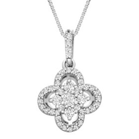0.25 CT. T.W. I-I1 14K White Gold Diamond Flower Pendant