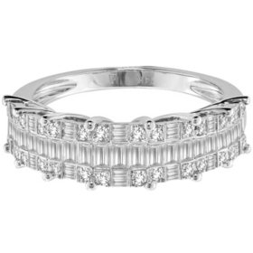 0.70 CT. T.W. Round and Baguette Diamond Ring in 14K White Gold