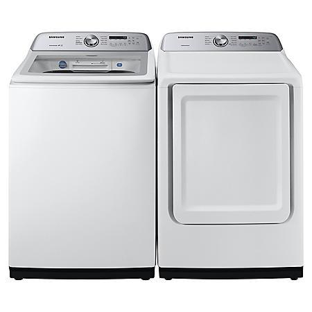 SAMSUNG 5.0 cu. ft. Top Load Washer & 7.4 cu. ft. Dryer - White