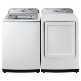 SAMSUNG 5.0 cu. ft. Top Load Washer & 7.4 cu. ft. Dryer - White