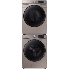 SAMSUNG 4.5 cu. ft. Front Load Washer with Steam and Dryer Bundle - WF45R6100, DV45R6100 (CHOOSE: Color, Display, Fuel Type)