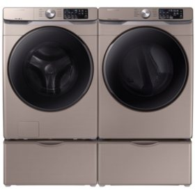 SAMSUNG 4.5 cu. ft. Front Load Washer & 7.5 cu. ft. Dryer on Pedestals - Champagne