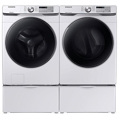 SAMSUNG 4.5 cu. ft. Front Load Washer & 7.5 cu. ft. Dryer on Pedestals - White