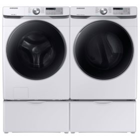 SAMSUNG 4.5 cu. ft. Front Load Washer & 7.5 cu. ft. Dryer on Pedestals - White