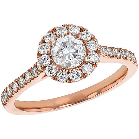 S Collection Bridal 1 CT. T.W. Diamond Halo Ring in 14K Gold (SI2, H-I)