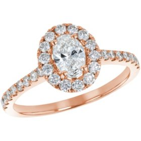 S Collection Bridal 1 CT. T.W. Oval Diamond Halo Ring in 14K Gold (SI2, H-I)