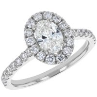 S Collection Bridal 1.38 CT. T.W. Oval Diamond Halo Ring in 14K Gold (SI2, H-I)