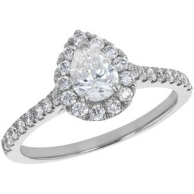 S Collection Bridal 1 CTW Pear Shaped Diamond Ring in 14K Gold (SI2, H-I)