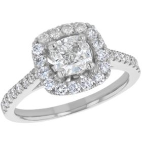 S Collection Bridal 1.63 CT. T.W. Cushion Cut Diamond Halo Ring in 14K Gold (SI2,  H-I)