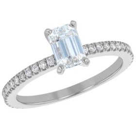 S Collection Bridal 1.25 CT. T.W. Emerald Diamond Ring in 14K Gold (VS2, G)