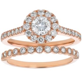 S Collection Bridal 1.50 CT. T.W. Diamond Halo Ring Bridal Set in 14K Rose Gold (SI2, H-I)