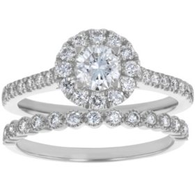 S Collection Bridal 1.25 CT. T.W. Diamond Halo Ring Bridal Set in 14K White Gold (SI2, H-I)