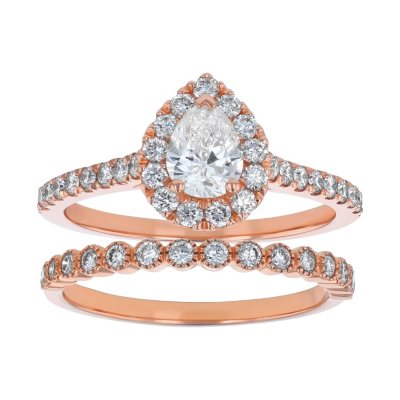 Details about  /1.22 Pear Halo Promise Wedding Bridal Engagement Ring Bridal 14k Rose Gold