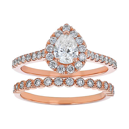 S Collection Bridal 1.25 CT. T.W. Pear Shaped Diamond Halo Ring Bridal Set in 14K Rose Gold (SI2, H-I)