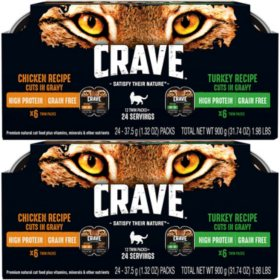 Crave High-Protein Grain-Free Adult Cat Food, Chicken & Turkey Recipe in Gravy Bundle (24 Twin Packs)