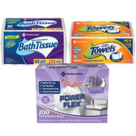 Member's Mark Premium Paper Towel, Bath Tissue, and Power Flex Tall Kitchen, Lavender Scented