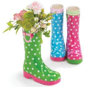 Dot Rain Boot Vase, Assorted (3 ct.)
