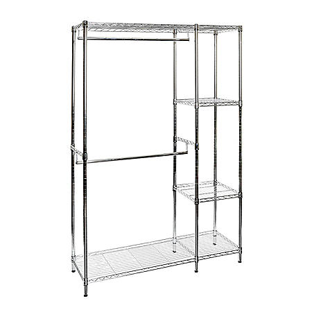 Seville Classics Steel Wire Adjustable Garment Rack with Shelves