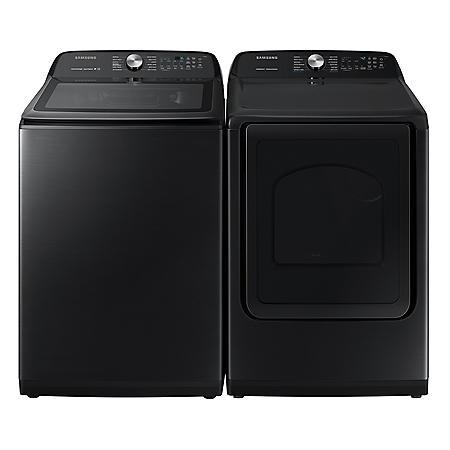 SAMSUNG 5.0 cu. ft. Top Load Washer & 7.4 cu. ft. Dryer - Black Stainless Steel