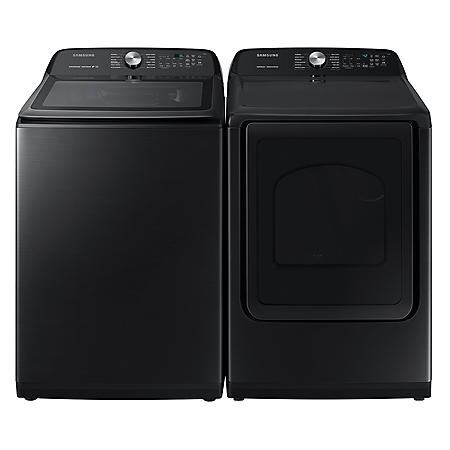 SAMSUNG 5.0 cu. ft. Top Load Washer & 7.4 cu. ft. Dryer - Black Stainless Steel