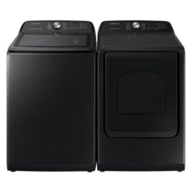 Samsung Side-by-Side Laundry Pair in Black Stainless Steel