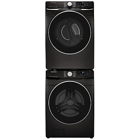 SAMSUNG Stackable 4.5 cu. ft. Front Load Washer & 7.5 cu. ft. Dryer - Black Stainless Steel