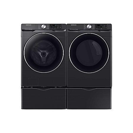 SAMSUNG 4.5 cu. ft. Front Load Washer & 7.5 cu. ft. Dryer on Pedestals - Black Stainless Steel