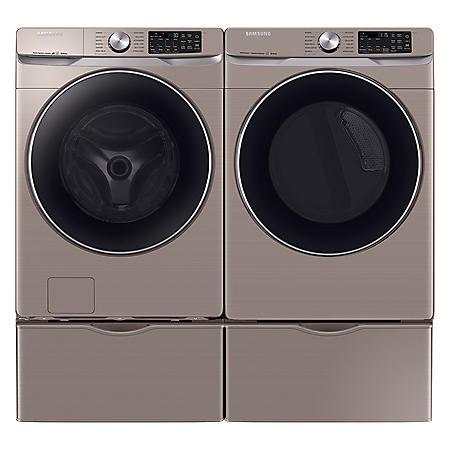 SAMSUNG 4.5 cu. ft. Front Load Washer & 7.5 cu. ft. Dryer on Pedestals - Chamapgne